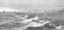 EGYPT. New Breakwater, harbour of Alexandria, antique print, 1872