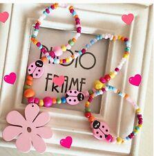 Childrens wooden & Acrillic Necklace & Bracelet.Pink Flower & Ladybird UK Seller