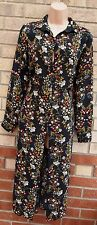 PAPAYA BLACK SLEEVE ALL BUTTONED YELLOW FLORAL T SHIRT SPLITS SIDE LONG DRESS 8