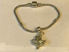 Sm Maple Leaf TG241 on a silver Rhodium Plated Snake Bracelet