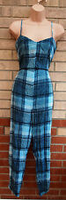 ASOS BLUE CHECK CHECKED TARTAN STRAPPY FIT JUMPSUIT ALL IN ONE PLAYSUIT 8 S