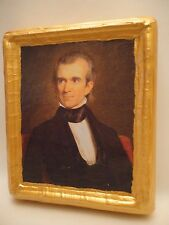 James Polk American President Rare Gold Art Icon on Natural Pine Wood Plaque