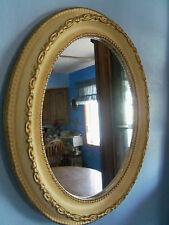*Vtg Stand Alone/ Wall Mount Oval Mirror Hollywood Regency Cream/Antiqued Finish