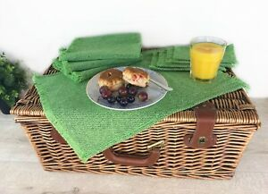 Table Mats Recycled Cotton Green 4 Placemats + Coasters Set Dining Outdoor Table