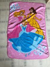 DISNEY Princess Pink Plush Fleece Child BLANKET Belle Cinderella Sleeping Beauty