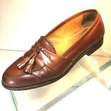 Johnston Murphy Cellini Mens Size 8 M Brown Leather Tassel Dress Loafers Italy