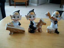 (3) Vintage Japan Ceramic Woodworking Pixie Elfs On Logs Figurines Gold Trim