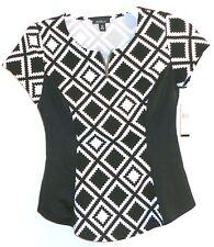 NEW Alyx Black White Geometric Short Sleeve Fitted Blouse Top PM Petite Medium