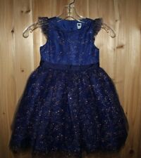 Janie and Jack girls 3 Dress Blue Tulle Golden Holiday Christmas Bow EUC