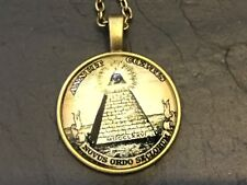MASONIC Pyramid Illuminati BRONZE METAL & Glass PENDANT NECKLACE Freemason Mason