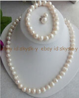 Real 10-11mm Natural White Freshwater Pearl Necklace Bracelet Earrings Set