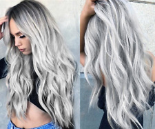 WHITE GREY SILVER LACE FRONT WIG HEAT RESISTANT SYNTHETIC LONG WAVY HAIR US
