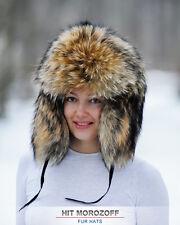 FINN RACCOON FUR Hat Russian Winter Chapka Ushanka Pelzmütze Fellmütze Waschbär