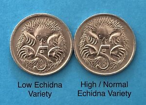 1972 Australian 5c / 5 Cent Error Coin Rare Low and High Echidna Variety(A-1060)