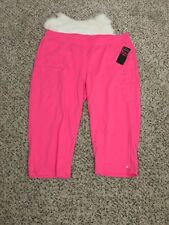 Treehearts Woman Sweat Cropped Athletic Pant Pink Pockets Sz 2X L21