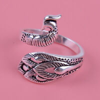 Vintage Massive Silber Pfau Phoenix Vogel Verstellbar Thai Ring Fingerring tp