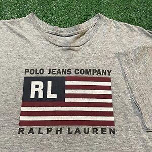 Polo Jeans Company T Shirt Mens XL Adult Gray USA American Flag Ralph Lauren VTG