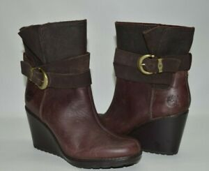 Timberland Earth Keepers Brown Leather Wedge Boots Size 8.5