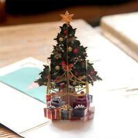 3D UP Greeting Cards Xmas Invitation Card DIY Handmade Gifts Christmas Tree Gift