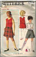 4502 Vintage Butterick Sewing Pattern Girls Skirt Weskit 1960's School OOP 14