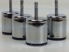 4x CHROME FEET METAL FURNITURE LEGS FOR SOFAS, BEDS, CHAIRS, STOOLS M8(8mm)
