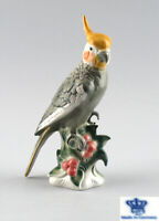 9942147 Porzellan Figur Wagner & Apel Vogel Nymphen-Sittich H24cm