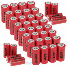 40x 3.7V CR123A 123A CR123 16340 2300mAh Red Rechargeable Battery Cell 100% NEW