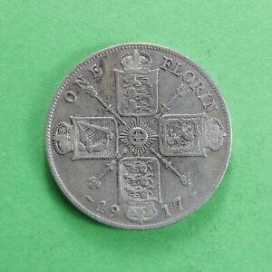 1917 George V Silver Florin/Two Shillings Really good detail SNo61165