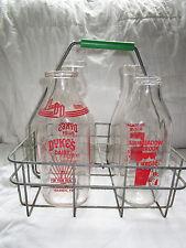 Vintage Antique Metal Milk Bottle Carrier Crate With 4 Quart-Size Milk Bottles