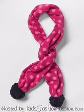 NWT $15 GAP Kids Girls Pro Fleece Polka Dot Printed Pink Pom Pom Scarf