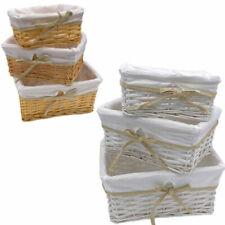 Wicker Storage Basket Willow Hamper Set Lining Small Medium Large UK