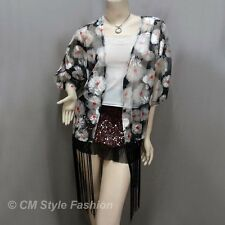 Floral Mesh Kimono Sleeve Fringes Cardigan Top Black Gray OS