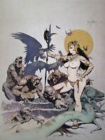 Vintage Frank Frazetta Art GHOUL QUEEN 1972 Full Color Plate GGA Nude Corpse