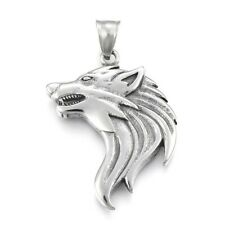WOLF HEAD PENDANT NECKLACE STAINLESS STEEL WITH STAINLESS STEEL CHAIN