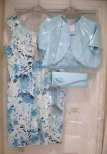 NWT 20 Jacques Vert Ivory Turquoise Dress Bolero Jacket Bag Mother of the Bride