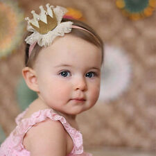 Cute Kids Baby Girl Lace Crown Hair Band Headwear Headband Hairband Yellow
