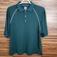 FJ FootJoy Mens XL ProDry Pique Golf Polo Green White Embroidered Short Sleeve