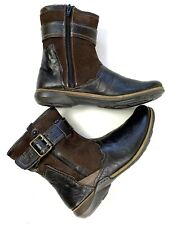 Romika Womens Ankle Boots Walking Flat Nelly Brown Leather Suede Zip Buckle 7 38