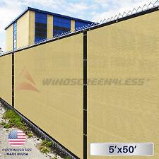 5'x50' Green Black Beige Brown Privacy Fence Windscreen Garden Shade Mesh Fabric