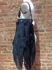 AUTHENTIC NEW $695 HAUTE HIPPIE BLACK SUEDE FRINGE SHOULDER BAG CROSSBODY