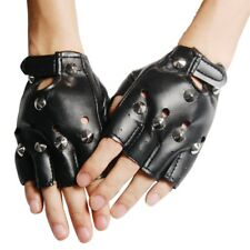 BLACK LEATHER LOOK FINGERLESS GLOVES FANCY DRESS S2O2