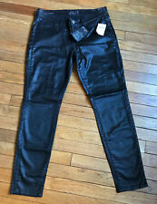 Lucky BRAND Shiny Black Coated Low Rise Charlie Super SKINNY Pants 10 30