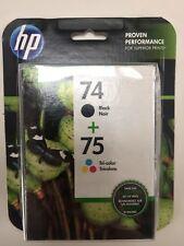 HP 74 & 75 Dual Pack Set Tri-Color Ink Cartridge Sealed NIB Genuine EXP 2017 '18