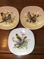 Vintage Schumann Arzberg E&R Golden Crown Floral BIRD Plates GERMANY SET of 3