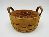 """Longaberger Baskets Hand Woven 2002 Small Round with Handles 6"""""""