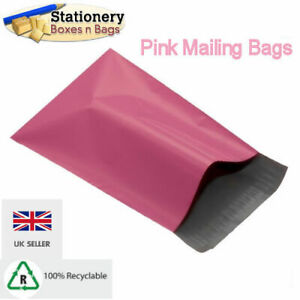 """100 FUNKY PINK 4.5"""" x 6.5"""" Mailing Mail Postal Parcel Packaging Bags 120x170mm"""