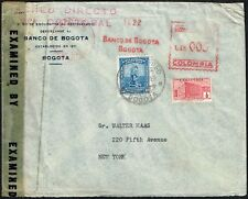 2658 COLOMBIA TO US CENSORED AIR MAIL COVER 1943 MACHINE CANCEL BCO. DE COLOMBIA
