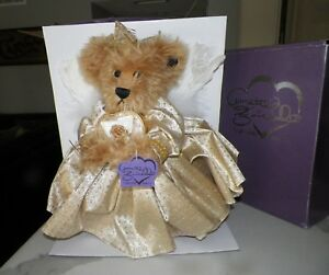 ANNETTE FUNICELLO GOLDIE 50TH GOLDEN ANGEL BEAR NIB WITH COA GERMAN MOHAIR LE