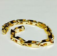 """14k solid Yellow gold HEAVY handmade link mens chain Bracelet 8.5"""" 28 grms 5.5MM"""