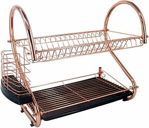 Copper/Rose Gold 2 Tier Dish Drainer with Tray and Cutlery Holder Rust Proof